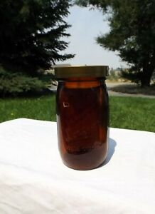 Vintage Amber Brown Glass Longlife Glass Sproutmaker Wide Mouth Mason Quart Jar