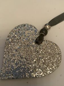 Silver Sparkle Textured Wooden Heart hanging decoration sign plaque hanger gift