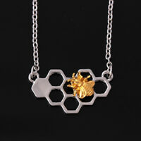 Fashion Charm Women Honeycomb Beehive Hive Honey Bee Pendant Long Chain Necklace