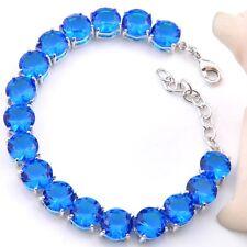 Round Shaped Gorgeous Titanic Ocean Blue Topaz Gems Silver Charming Bracelets