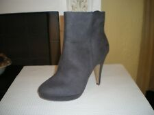 H&M Grey Suede High Heel Ankle Boots Zip Up SIZE UK 5 EU 38 Gift Christmas