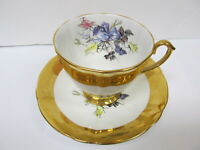 WINDSOR ENGLAND ROSES GOLD BAND BONE CHINA UNUSED CUP & SAUCER XLNT COND