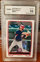 🛑2012 Bowman Bryce Harper, Rookie Card #BP10, GMA Graded 10 Phillies Nationals