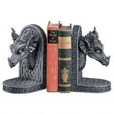 Set of 2: Medieval Celtic Dragon Bust Trophy Book Ends Medieval Bookends