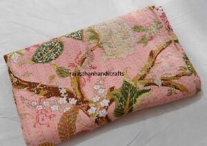 Queen Size Indian Kantha Handmade Quilt Throw Bedspread Blanket Floral Print