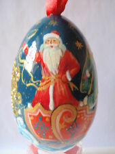 The wooden Egg . Russian Santa Clause. Hand Painted. Hight 3,54 inch / 9 cm
