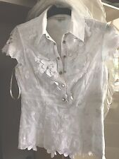 Karen Millen White 3D Flower Lace Embroidered Shirt Blouse Size 8 Small