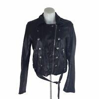 Free People black Ashville Moto Faux Leather Jacket Zip Belted Womens Sz M
