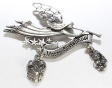 Brooch Pin - Angel - Merry Christmas - Trumpet - Gift - Snowman - Silver Tone