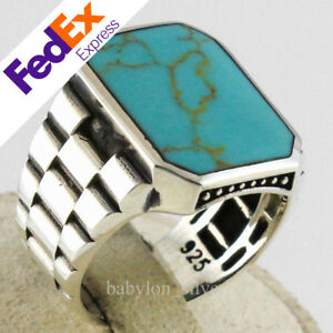925 Sterling Silver Turkish Handmade Watch Style Turquoise Stone Men Luxury Ring