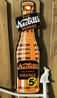 VINTAGE NESBITTS ORANGE SODA POP EMBOSSED METAL SIGN PORCELAIN USA OIL GAS DRINK
