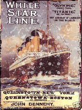 WHITE STAR LINE TITANIC METAL SIGN 8x10in pub bar shop cafe ship games room