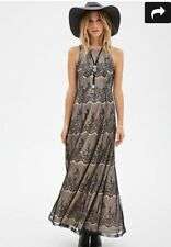 Forever21 Lace Black Nude Overly Maxi Prom Formal Gown Dress Size Large