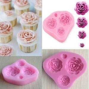 Silicone 4 Roses Mould Flower Modelling Pastecup Cake Icing Sugarpaste KS3