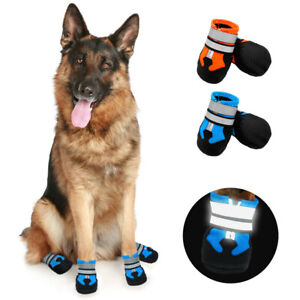 Reflective Warm Padded Dog Boots Waterproof Rain Shoes for Medium Large Pet Dogs