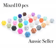 MIXED 10x 17mm hexagon silicone beads BPA free baby teeth safe necklace sample