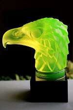 "BOHEMIAN ART DECO  VASELINE GLASS CAR MASCOT  - "" EAGLE HEAD "" ON BLACK PLINTH"