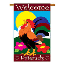 New listing Welcome Friends Rooster - Applique Decorative House Flag - H110038-P2