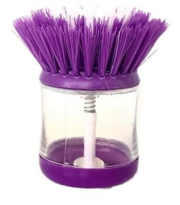 PURPLE Soap Dispensing Washing Up Scrubber Brush Dishes Cleaning Scouring Pad