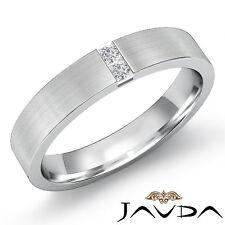 6mm Mens Half Wedding Band 18k White Gold 2 Stone Princess Diamond Ring 0.25Ct