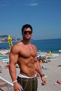 Male Muscular Body Builder Huge Arms Flexing Hunk Beefcake PHOTO 4X6 C1676