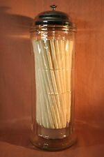 HEAVY GLASS PANELED STRAW HOLDER WITH OLD STRAWS
