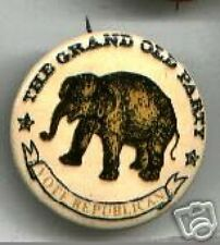 Vote REPUBLICAN old ELEPHANT logo pin 1960s pinback button GOP