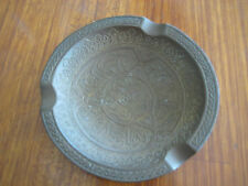 VINTAGE SMALL INDIA DETAIL HAND CARVED BRASS ASH TRAY