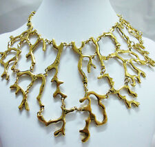 Luxury fashion sea coral 18K gold-tone statement necklace