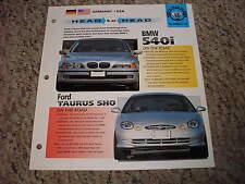 Head to Head BMW 540i vs Ford Taurus SHO Group 11 # 13 Spec Sheet Brochure