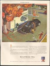 1942 Vintage ad for Gulfpride Oil`Art retro Gas Station Car Dog  012118)