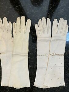 VINTAGE Women's WHITE LEATHER LONG GLOVES