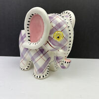 Vintage Ceramic NAPCO Purple Red Plaid Elephant Baby Planter S676/L Foil Label