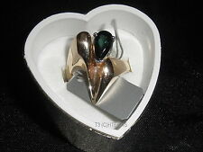Beautiful & Classy Designer Ring w/ Pear Shape Greenish BlueTourmaline- Sz.7 1/4