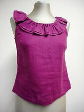 Gorgeous Hobbs top purple violet linen/flax neck ruff frill button up back UK8