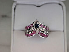 Antique style Solid 14k White Gold Narural Sapphire,Ruby and Diamond Ring