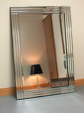 "Grace Silver Glass Framed Rectangle Bevelled Wall Mirror 32"" x 23"""