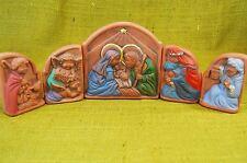 Holy Family Nativity Creche Mexican Pottery Terra Cotta Handpainted Windowpanes