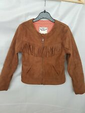 GIRLS M&S TAN FAUX SUEDE TASSELL JACKET AGE 7-8 **FANTASTIC CONDITION**
