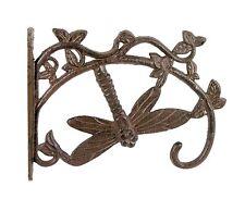 Cast Iron Dragonfly Bracket Hanger Basket Pot Lamp Hook Solid Antique Rust SREDA