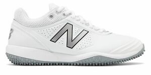 New Balance Fusev2 TPU Turf Softball Womens Shoes White with Silver Size 5 D