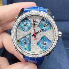 New Jacob&Co JCM-78 Five Time Zones 40mm Stainless Steel Blue Diamonds Watch