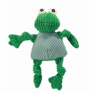 Hugglehounds Knottie Plush Dog Large Toy Durable Squeaky Frog Play Chew Fetch