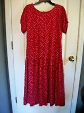 Vintage Laura Ashley Red Polka Dot Drop Waist Cap Sleeve Midi Dress Size US 8