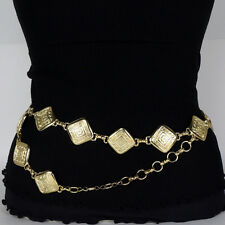 Gold Plated Greek Key Pattern Metal Link Belt - Adjustable S/M/L Made In Italy