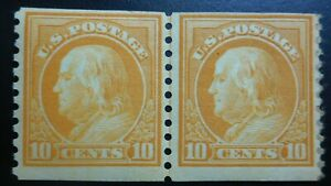 U.S. Stamp: Scott#497, 10c, a Line Pair, The Wash-Frank Head issue 1916-22, OGHR