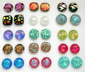 Lot 30 pcs round square handmade DICHROIC earrings FUSED GLASS (Q15) CABOCHONS