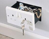 Imitation Double Plug Socket Wall Safe Security Stash Box lockable with 2 Keys