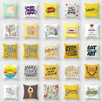 Polyester Yellow Letter Pillow Case Sofa Waist Throw Cushion Cover Home Decor