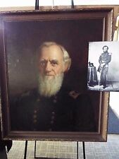 Civil War General R.W. Johnson -Large Original Oil Painting, Bible, and his Cane